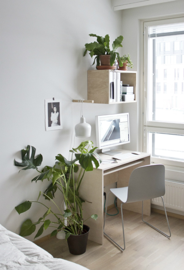 Biophilic home office with plants