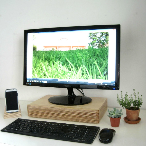 Plants and Pacco Monitor Stand and Drawer on a minimalist desk