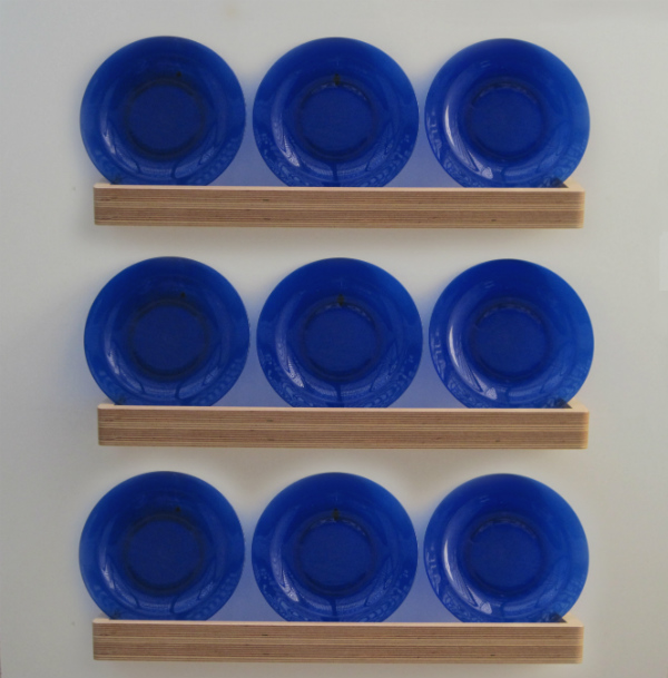 Floating shelves with blue plates
