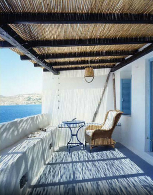 Greek Island terrace overlooking the sea