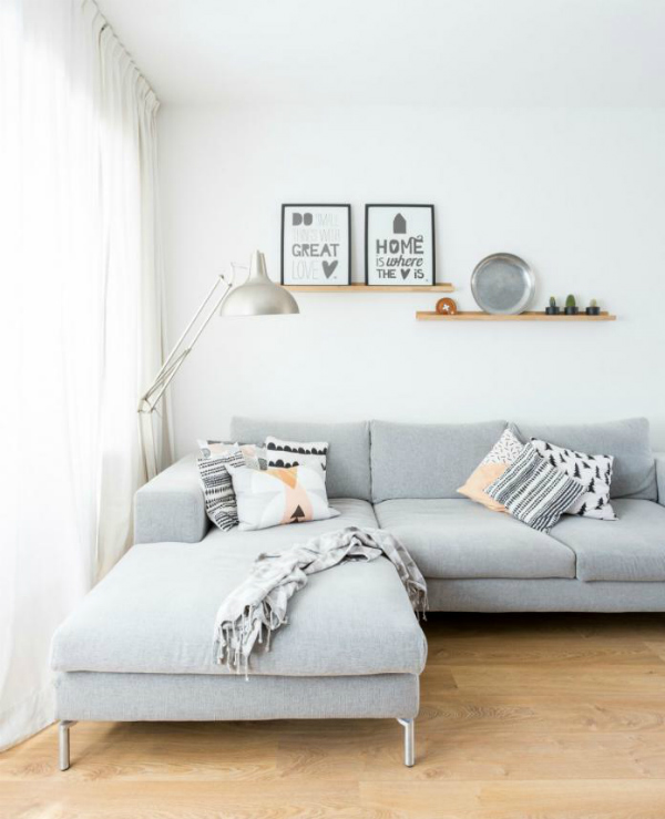 Living room ideas - Scandinavian design and picture ledge shelves in wood