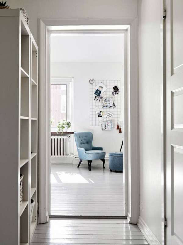 Scandinavian home with white and serenity blue decor