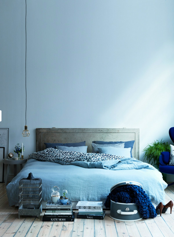 Serenity blue bedding and bedroom walls