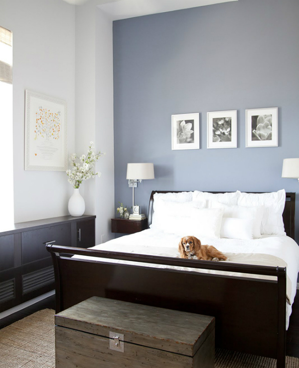 Serenity blue walls in the bedroom