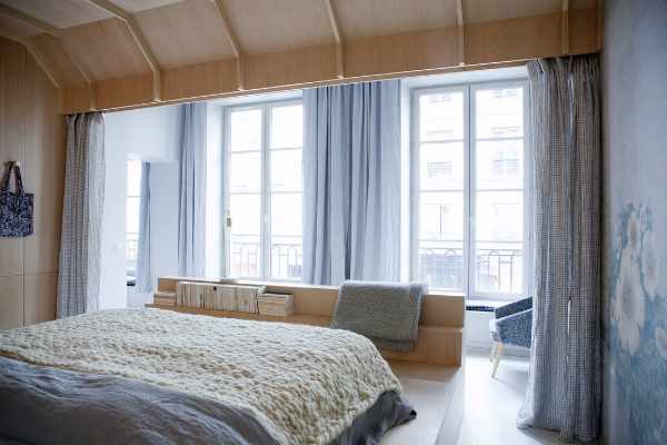 Serenity blue and wood bedroom