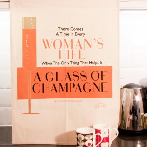 Tea Towel: Glass of Champagne