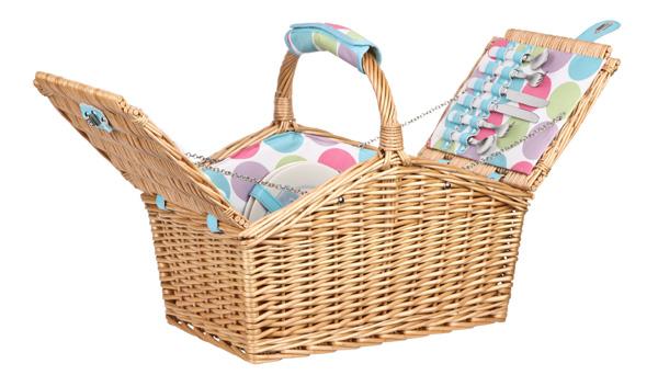 Candy Dot Wicker Picnic Basket