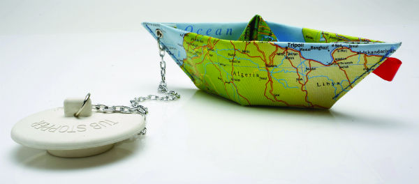 Marina Bath Plug from Mocha - a travel plug with map boat