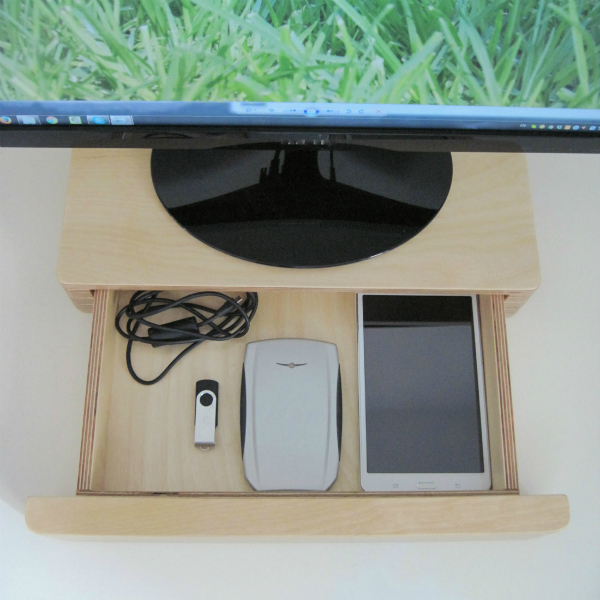 Pacco Monitor Stand with open drawer from mochacasa