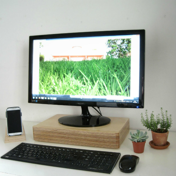 Pacco Monitor Stand and Drawer from Mocha Casa