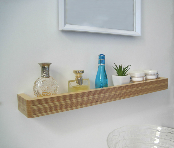 Floating shelf used as bathroom shelf from Mocha Casa
