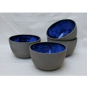 Handmade Ceramic Bowl in grey and cobalt from Mocha Casa