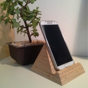Pyramid Phone Holder handmade in birch ply from Mocha Casa designed by Samuel Ansbacher
