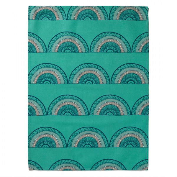 Tea Towel Horseshoe Arch Teal from Mocha Casa