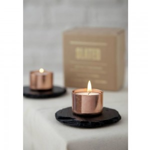 Copper and Slate Candle Holder Round from Mocha Casa