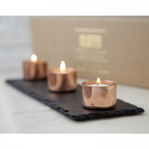 Copper and Slate Candle Holder Set from Mocha Casa
