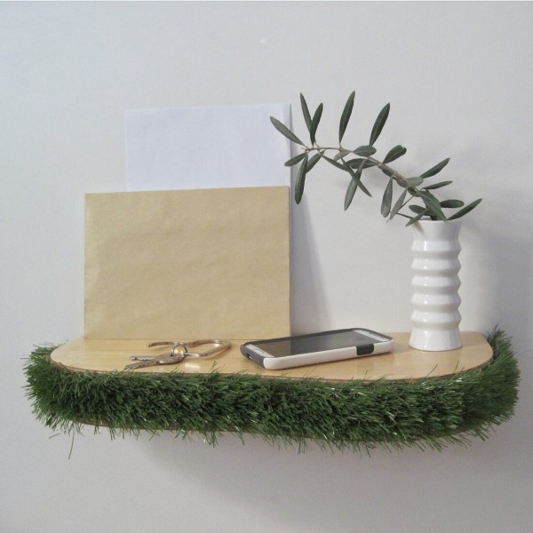 Grass floating shelf console table from mochacasa