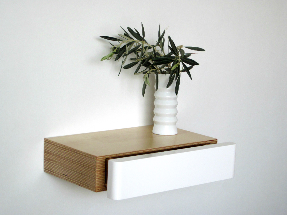 Pacco floating shelf with drawer in birch white from mochacasa.com