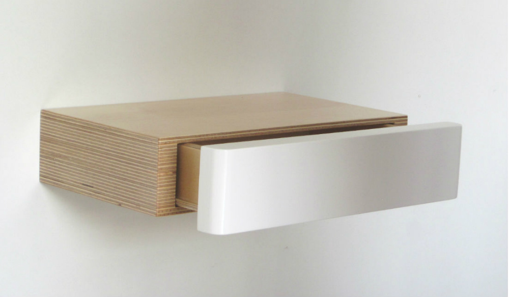 Pacco Floating Drawer Shelf in birch white from mochacasa.com