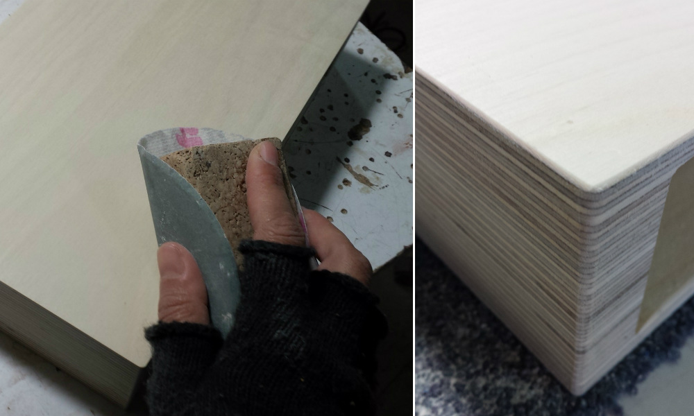 Sanding a Pacco Floating Drawer from Mocha Casa for the perfect edges and finish